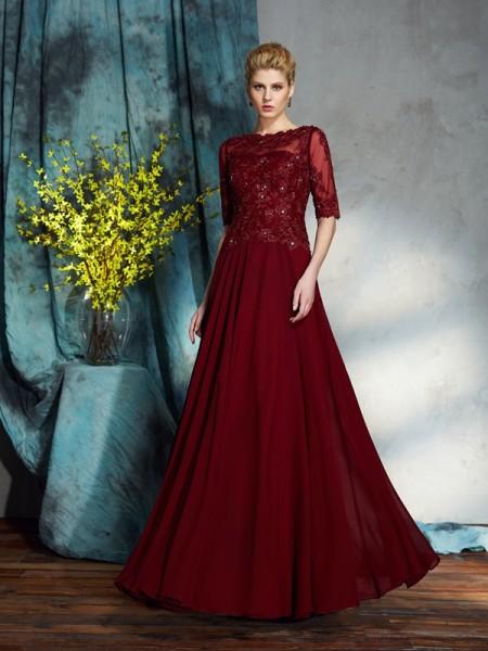 A-Linje/Prinsesse Båthals Applikasjoner Halvlang Lange Chiffong Kjoler til Brudens Mor