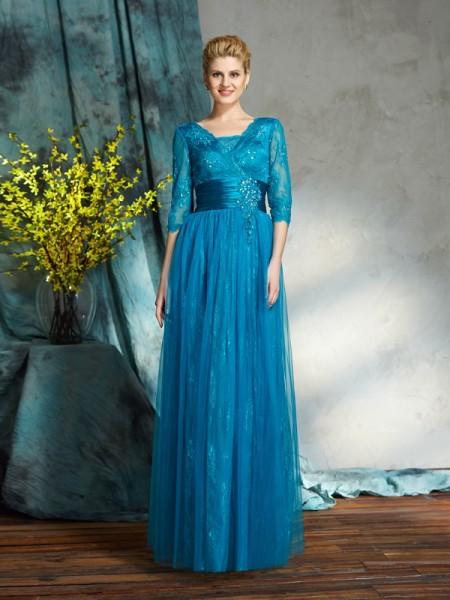A-Linje/Prinsesse V-hals Applikasjoner 3/4 Ermer Lange Netting Kjoler til Brudens Mor