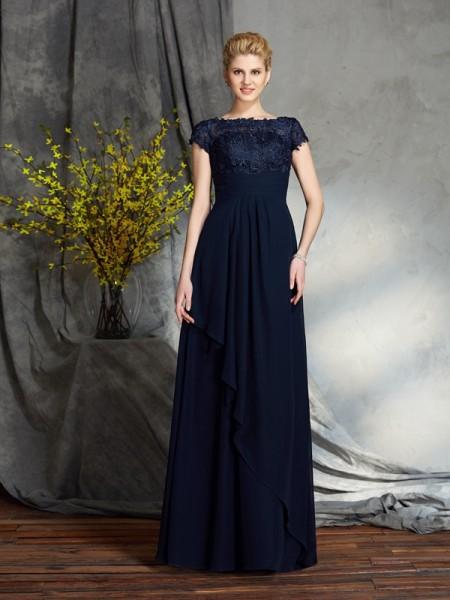 A-Linje/Prinsesse Båthals Applikasjoner Kort erme Lange Chiffong Kjoler til Brudens Mor