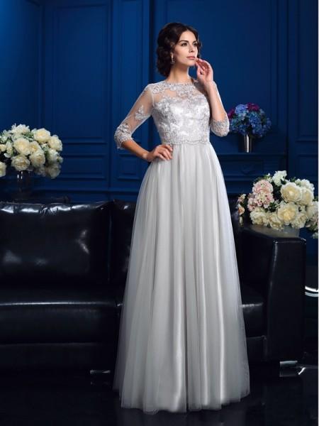 A-Linje/Prinsesse Scoop Applikasjoner 3/4 Ermer Lange Elastisk sateng Kjoler til Brudens Mor