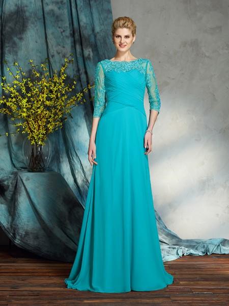 A-Linje/Prinsesse Båthals Applikasjoner 3/4 Ermer Lange Chiffong Kjoler til Brudens Mor
