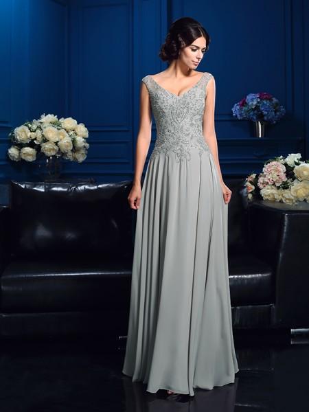 A-Linje/Prinsesse V-hals Perlebesydd Ermeløs Lange Chiffong Kjoler til Brudens Mor