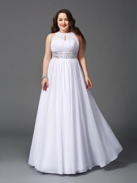 A-Linje/Prinsesse Juvel Perlebesydd Ermeløs Lange Chiffong Pluss Størrelse Kjole