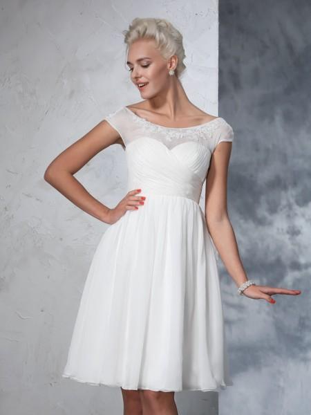 A-Linje/Prinsesse Sheer halsen Folder Kort erme Kort Chiffong Brudekjoler