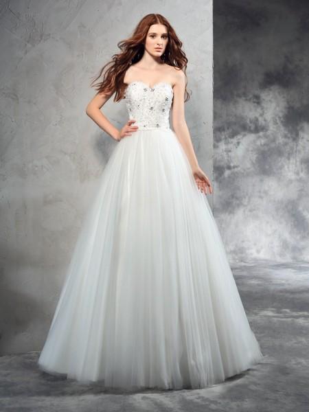 A-Linje/Prinsesse Sweetheart Perlebesydd Ermeløs Lange Netting Brudekjoler