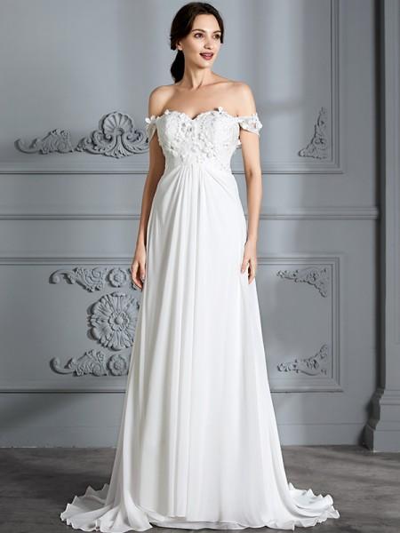 A-Linje/Prinsesse Off-the-Shoulder Ermeløs Chiffong Gulvlengde Brudekjoler