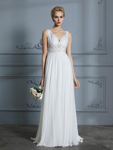 A-linje/Prinsesse Uten Ermer V-hals Sweep Slep Chiffong Bryllupskjoler