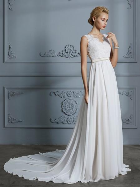 A-linje/Prinsesse Uten Ermer V-hals Chiffong Court Slep Bryllupskjoler