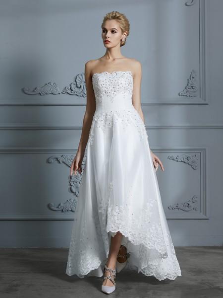 A-linje/Prinsesse Sweetheart Uten Ermer Perlebesydd Asymmetrisk Tyll Bryllupskjoler