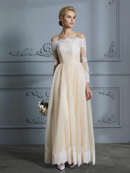 A-linje/Prinsesse Off-the-skulder Langermer Gulvlengde Blonder Tyll Bryllupskjoler