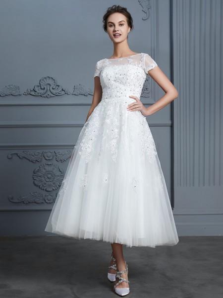 A-linje/Prinsesse Kule Korte ermer Te-Lengde Perlebesydd Tyll Bryllupskjoler