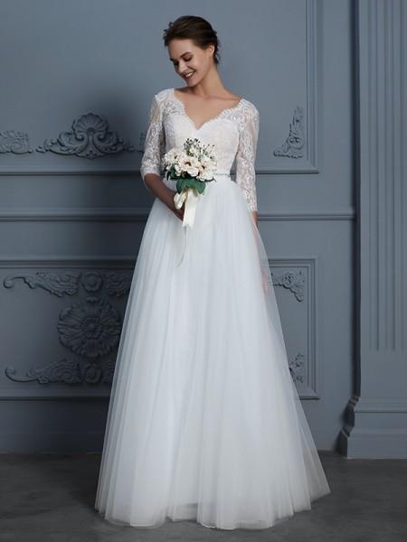 A-linje/Prinsesse V-hals 3/4 Ermer Gulvlengde Blonder Tyll Bryllupskjoler