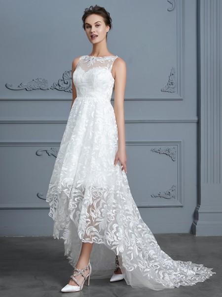 A-linje/Prinsesse Kule Uten Ermer Asymmetrisk Blonder Bryllupskjoler