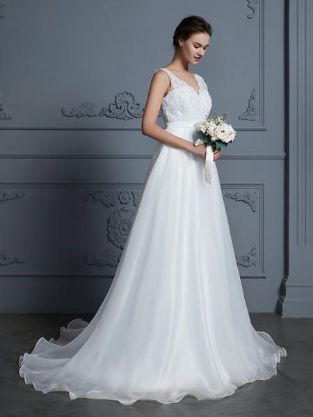 A-linje/Prinsesse V-hals Uten Ermer Gulvlengde Blonder Chiffong Bryllupskjoler