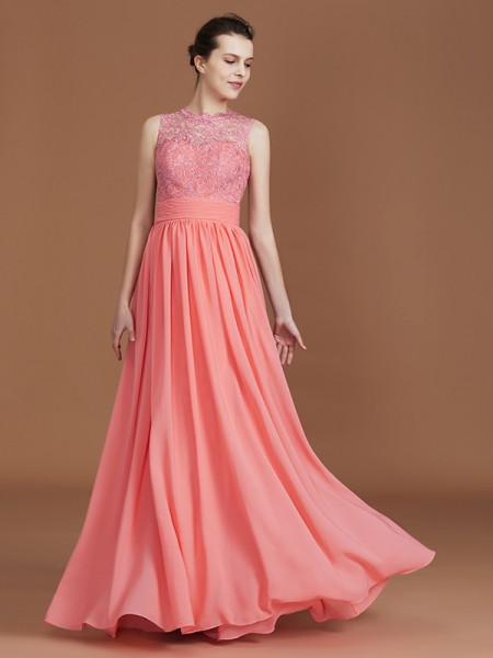 A-linje/Prinsesse Jewel Uten Ermer Blonder Gulvlengde Chiffong Brudepikekjoler