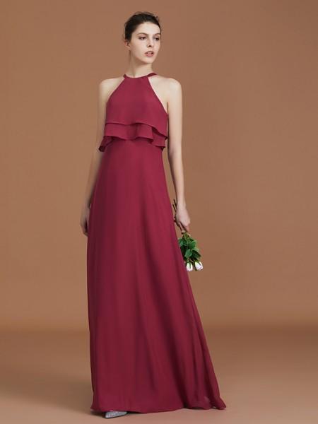 A-linje/Prinsesse Kule Uten Ermer Gulvlengde Frynse Chiffong Bridesmaid Dress Frynse
