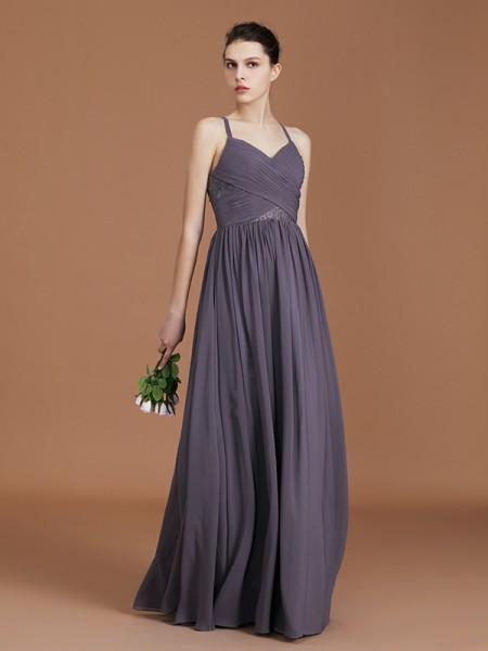 A-linje/Prinsesse Blonder Spaghettistropper Uten Ermer Gulvlengde Chiffong Bridesmaid Dress