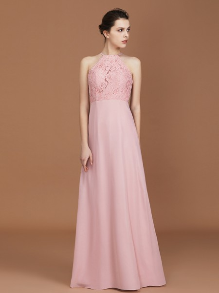 A-linje/Prinsesse Halter Uten Ermer Blonder Gulvlengde Chiffong Bridesmaid Dress
