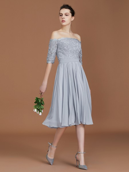 A-linje/Prinsesse Off-the-skulder Korte ermer Blonder Te-Lengde Chiffong Bridesmaid Dress