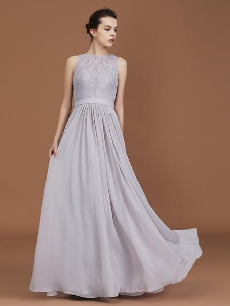 A-linje/Prinsesse Kule Blonder Gulvlengde Ruched Chiffong Bridesmaid Dress