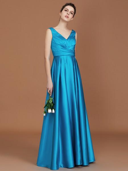 A-linje/Prinsesse V-hals Uten Ermer Gulvlengde Frynse Sateng Bridesmaid Dress