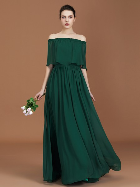 A-linje/Prinsesse Plissert Off-the-skulder Gulvlengde Chiffong Bridesmaid Dress