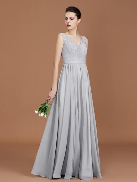 A-linje/Prinsesse V-hals Uten Ermer Gulvlengde Chiffong Blonder Bridesmaid Dress