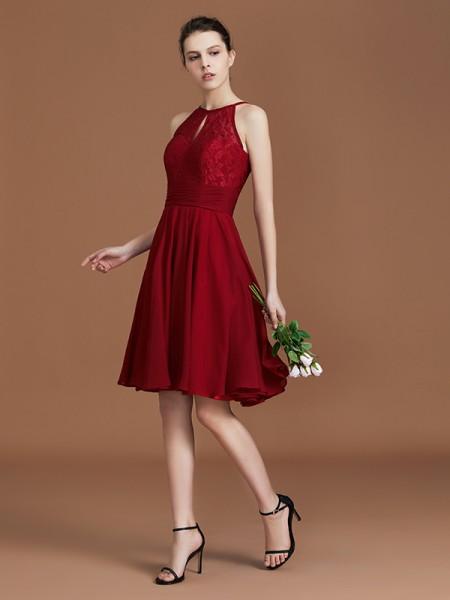 A-linje/Prinsesse Halter Uten Ermer Knelengde Chiffong Blonder Bridesmaid Dress
