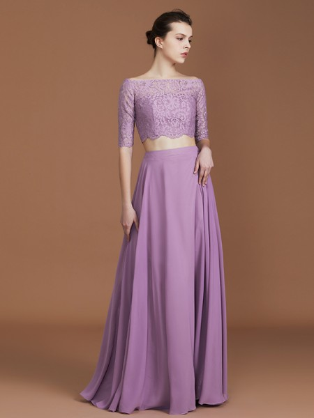 A-linje/Prinsesse Blonder Off-the-skulder 1/2 Ermer Gulvlengde Chiffong Bridesmaid Dress