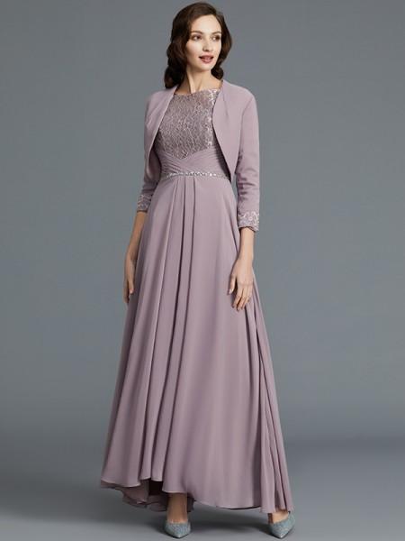 A-Linje/Prinsesse Halvlang Scoop Asymmetrisk Chiffong Kjoler til Brudens Mor