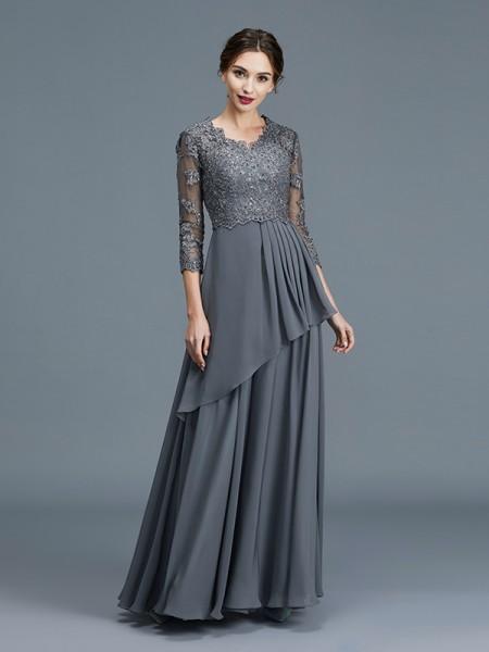 A-linje/Prinsesse V-hals 3/4 Ermer Frynse Chiffong Gulvlengde Kjoler til Brudens Mor