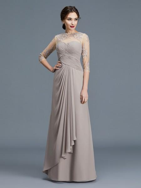 A-linje/Prinsesse Sheer Neck 3/4 Ermer Frynse Chiffong Gulvlengde Kjoler til Brudens Mor