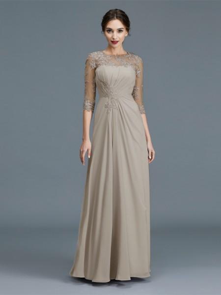 A-linje/Prinsesse Kule 3/4 Ermer Chiffong Frynse Gulvlengde Kjoler til Brudens Mor