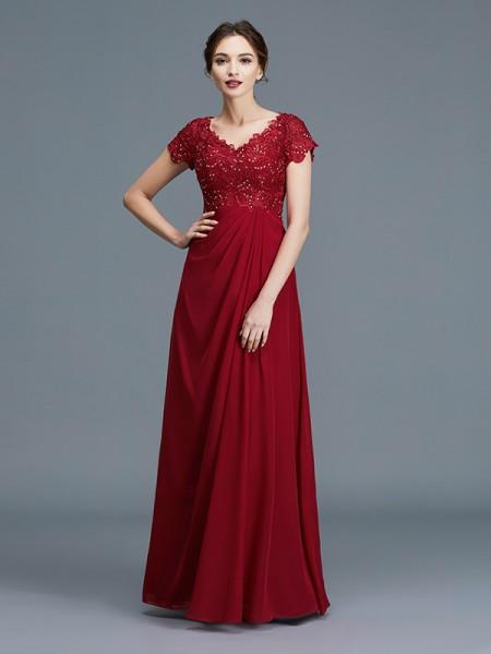 A-linje/Prinsesse V-hals Korte ermer Frynse Chiffong Gulvlengde Kjoler til Brudens Mor