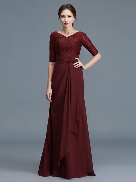 A-linje/Prinsesse V-hals 1/2 Ermer Frynse Chiffong Gulvlengde Kjoler til Brudens Mor