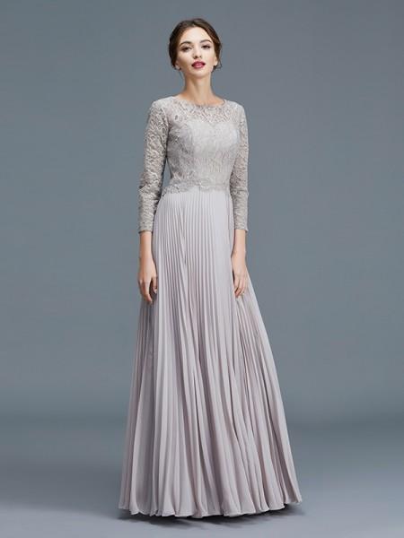A-linje/Prinsesse Kule 3/4 Ermer Blonder Chiffong Gulvlengde Kjoler til Brudens Mor