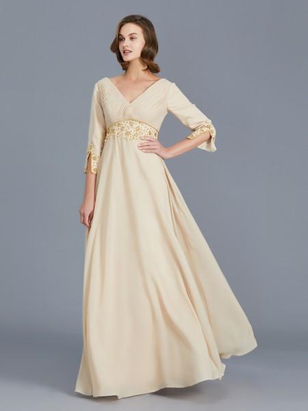 A-linje/Prinsesse V-hals Frynse Chiffong Uten Ermer Gulvlengde Kjoler til Brudens Mor