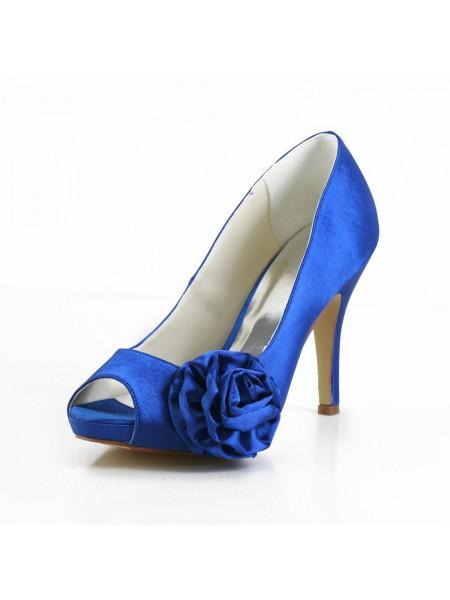Women's Elegant Sateng Peep Toe Stiletto Heel Pumps With Blomst Hvit Brudesko