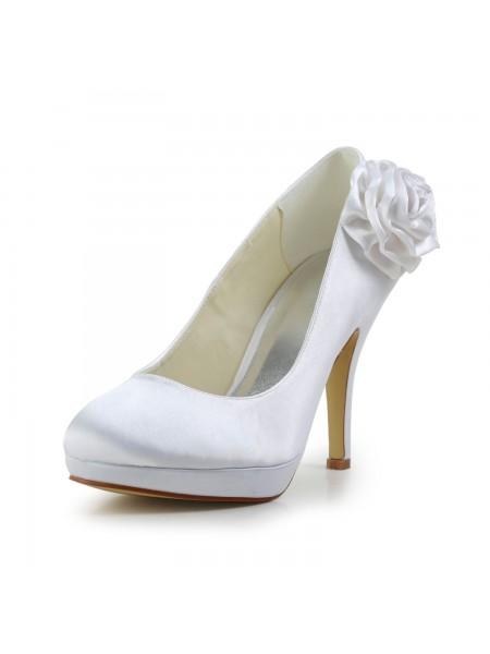 Women's Elegant Sateng Stiletto Heel Pumps With Blomst Hvit Brudesko