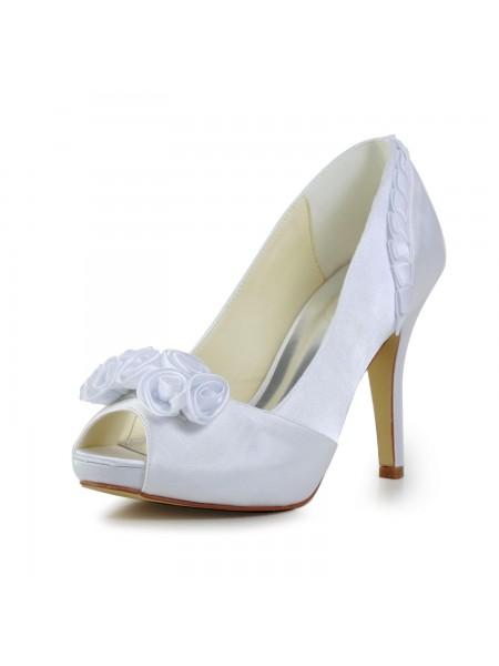 Women's Fabulous Sateng Stiletto Heel Pumps With Blomst Hvit Brudesko
