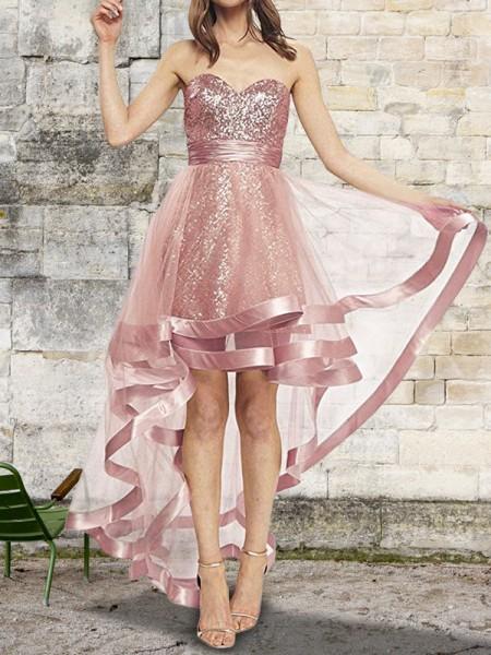 A-linje/Prinsesse Uten Ermer Sweetheart Asymmetrisk Paljetter Organza Kjoler