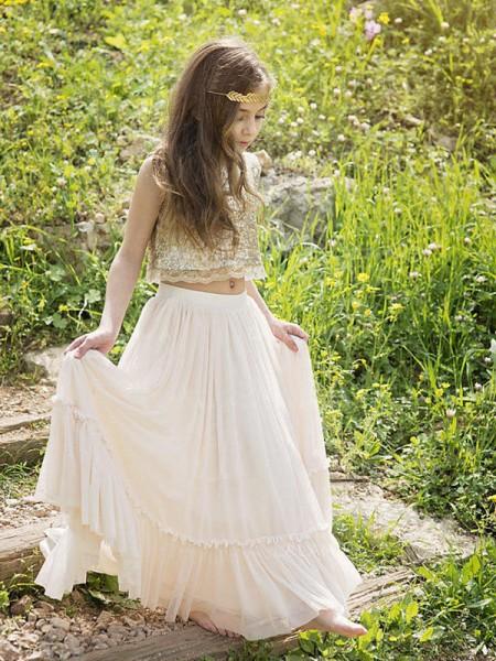 A-linje/Prinsesse Uten Ermer Kule Gulvlengde Paljetter Chiffong Flower Girl Kjoler