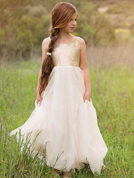 A-linje/Prinsesse Uten Ermer Kule Gulvlengde Paljetter Tyll Flower Girl Kjoler