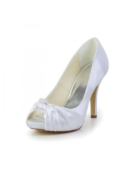 Women's Gorgeous Sateng Stiletto Heel Peep Toe Hvit Brudesko