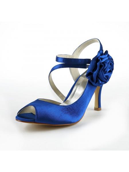 Women's Gorgeous Sateng Stiletto Heel Peep Toe With Blomst Hvit Brudesko