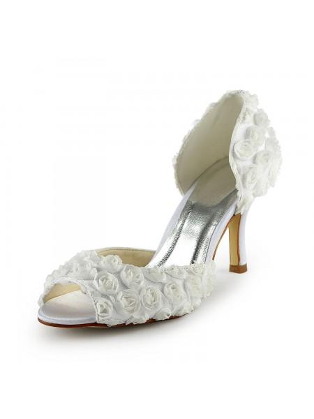 Women's Gorgeous Sateng Stiletto Heel Peep Toe With Blomsts Hvit Brudesko