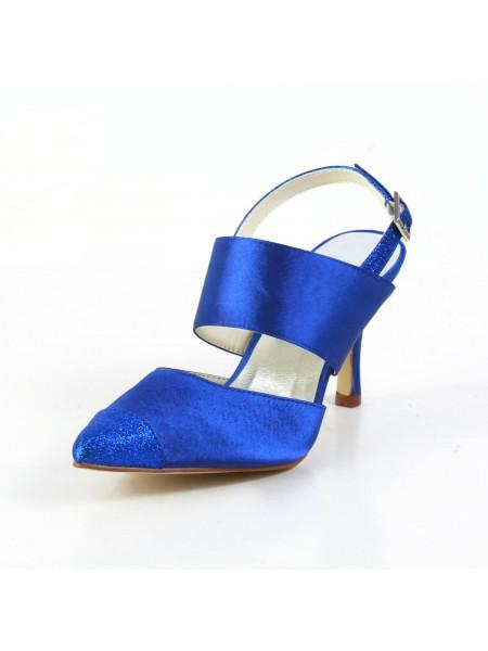 Women's Graceful Sateng Stiletto Heel Sandalerer Closed Toe Hvit Brudesko