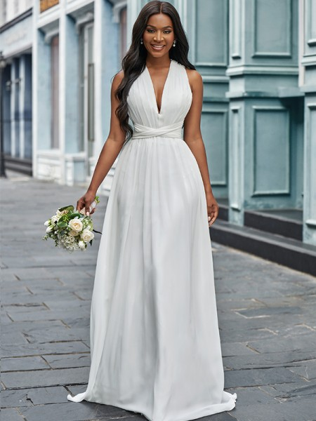 A-Line/Princess Chiffon Halter Ruched Sleeveless Floor-Length Wedding Dresses