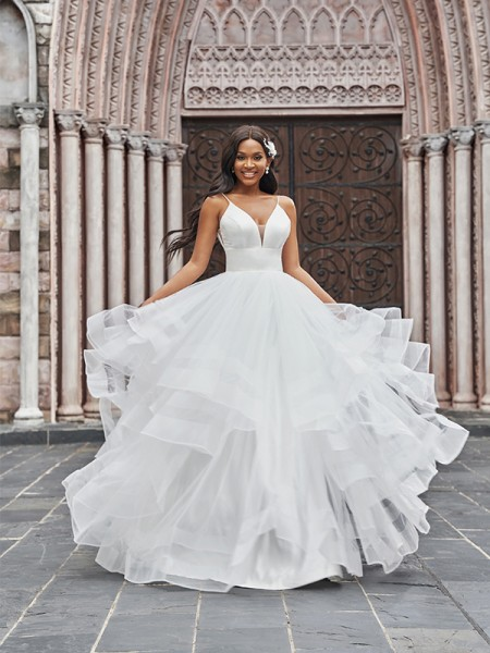 A-Line/Princess Tulle V-neck Ruffles Sleeveless Floor-Length Wedding Dresses