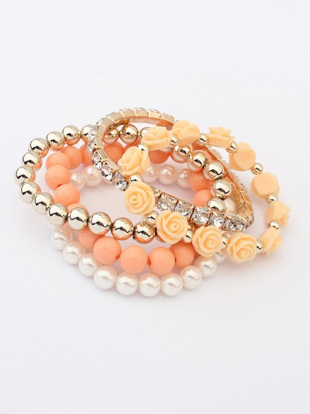 Korean version Sweet Multi-layeRød Rose Elasticity Hot Sale Armbånd